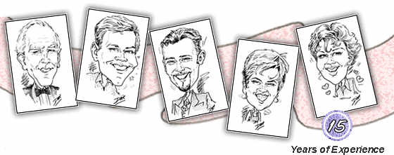 Caricatures of people who have attended events where Dixie has worked.