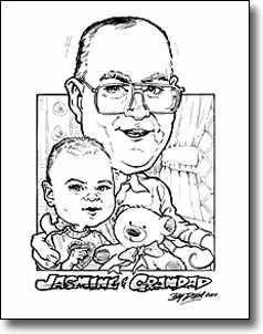 Black and white caricature by Dixie