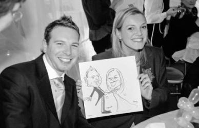 Caricatures at a party