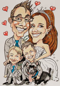 family caricature by Rich Russell from aurorascarnival.co.uk