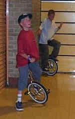 Trying hard to master the unicycle.