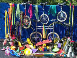 A selection of circus equipment available from the Kris Katchit Circus Skills Workshops. Book Kris through Aurora's Carnival Entertainment Agency.