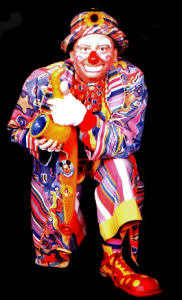 Conk the clown - a colourful character