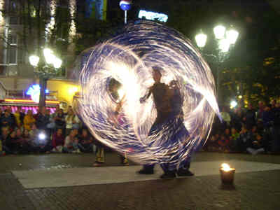 Flame Oz, fire performers for festivals and sporting events.