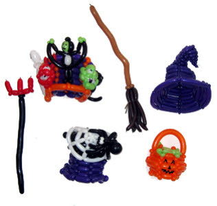A range of Halloween themed balloon models from circusperformers.co.uk and aurorascarnival.co.uk