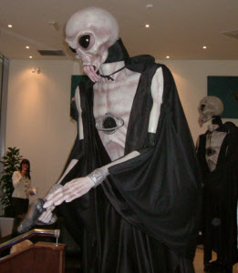 Alien stiltwalkers for Halloween events from circusperformers.co.uk and aurorascarnival.co.uk