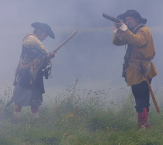 17th century re-enactment group muskets