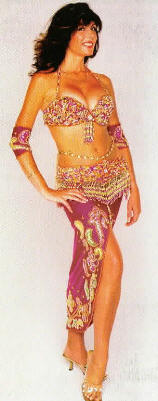 Nuala, Belly Dancer available from Aurora's Carnival in her pink costume.