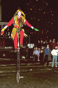 Jonathan Jester on unicycle at night