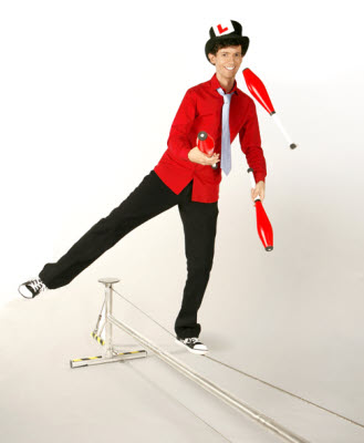 Sam teaches tightrope and other circus skills